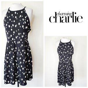 CHARMING CHARLIE Polka Dot Black Skater Dress